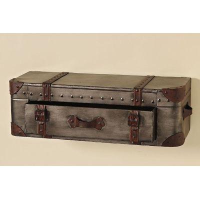Wandregal koffer mit schublade braun regal wand wandkonsole sideboard shabby metall nostalgie - Nostalgie wandregal ...