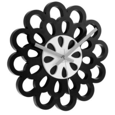 Wanduhr Flower schwarz Uhr Zeit Time Zeitmesser Blume Uhrzeit Uhren Clock   2948 / EAN:8714302466175