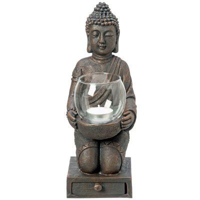Windlicht Buddha 30 cm Budda Figur Statue Dekoration Teelichthalter Kerzenhalter Kunstharz | 12716 / EAN:4020607448322