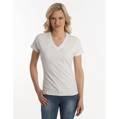 Damen T-Shirt Flash-Line, V-Neck, asche, Grösse 3XL | 100104-600-12 / EAN:0651650570063