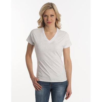 Damen T-Shirt Flash-Line, V-Neck, asche, Grösse L | 100104-300-12 / EAN:0651650570063