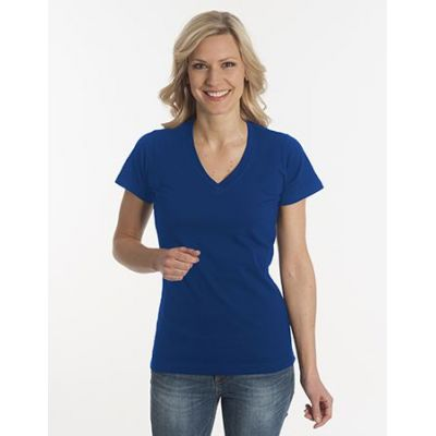 Damen T-Shirt Flash-Line, V-Neck, navy, Grösse 3XL | 100104-600-05 / EAN:0651650570063