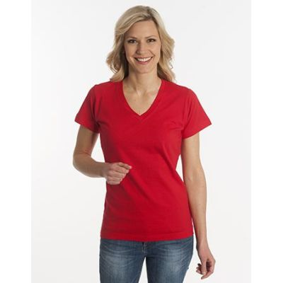Damen T-Shirt Flash-Line, V-Neck, rot, Grösse XL | 100104-400-04 / EAN:0651650570063