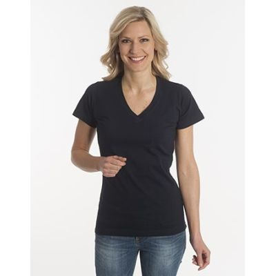 Damen T-Shirt Flash-Line, V-Neck, schwarz, Grösse L | 100104-300-06 / EAN:0651650570063