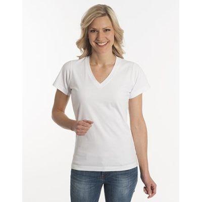 Damen T-Shirt Flash-Line, V-Neck, weiss, Grösse 3XL | 100104-600-01 / EAN:0651650570063