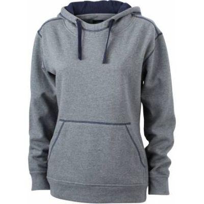 JN Ladie´s Lifestyle Zip-Hoody Grau melange - Navy, Grösse S | jn962xxx01-100-382 / EAN:0651650570124