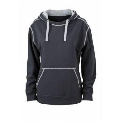 JN Ladie´s Lifestyle Zip-Hoody Schwarz - Hellgrau, Grösse XL | jn962xxx01-400-322 / EAN:0651650570124