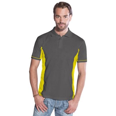 Promodoro Men Function Contrast Polo graphit - neongelb, Gr. L | 452080401-300-804 / EAN:0651650570070