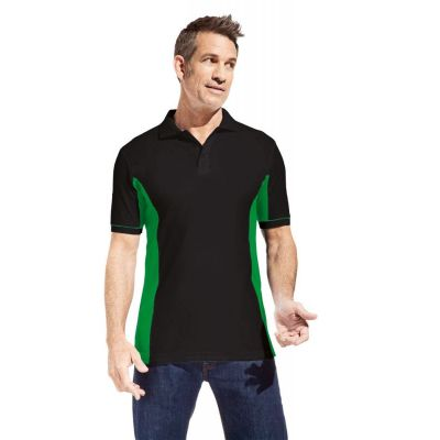 Promodoro Men Function Contrast Polo schwarz - kelly green, Gr. XL | 452077701-400-777 / EAN:0651650570070