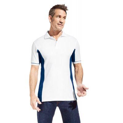 Promodoro Men´s Function Contrast Polo weiss - indigo blau, Gr. S | 452077601-100-776 / EAN:0651650570070